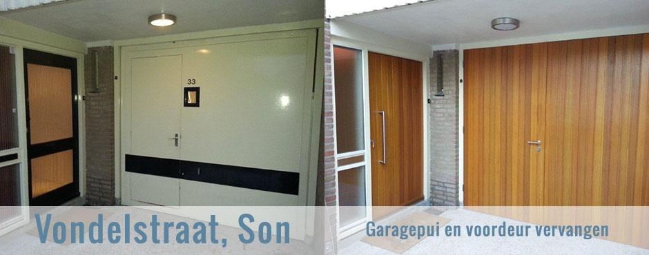 Garagedeur en voordeur vervangen in Son